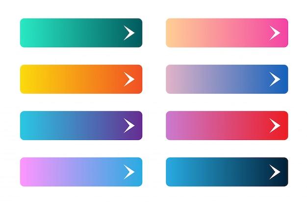 Insieme di vettore dei pulsanti app o gioco moderni gradiente. pulsante web dell'interfaccia utente su forme rettangolari con frecce.