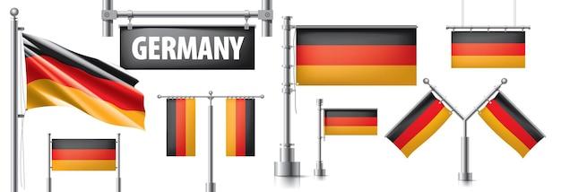 Insieme di vettore della bandiera nazionale della germania in vari design creativi.