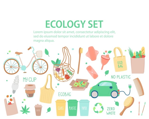 Insieme di vettore degli oggetti sul tema dell'ecologia, banner con spazio di copia. modello in stile disegnato a mano per siti web, pubblicità e volantini.