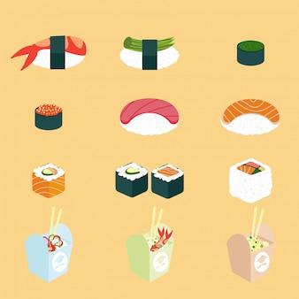 Vector set di cibo panasiano. cucina cinese e giapponese