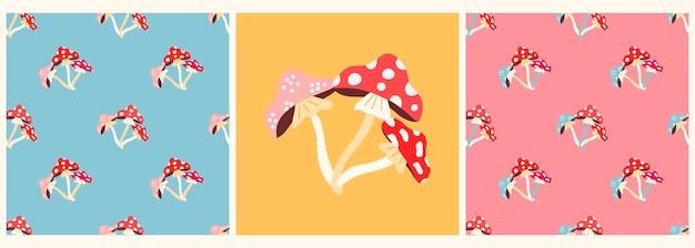 Set vettoriale di motivi e poster con funghi agarico in uno stile piatto moderno