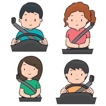 Insieme vettoriale di persone usano la cintura di sicurezza