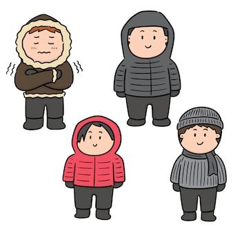 Insieme di vettore di persone in abiti invernali