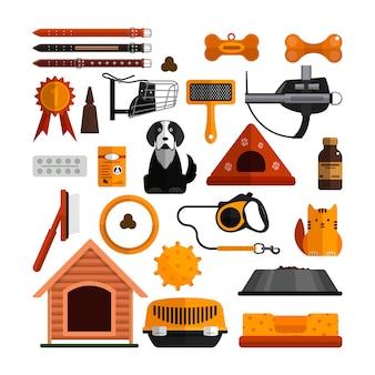 Insieme di vettore di accessori per animali domestici isolato. cani e gatti progettano elementi in stile piatto.