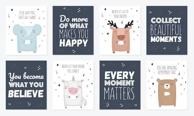 Set vettoriale di cartoline con animali e slogan sull'amico rty