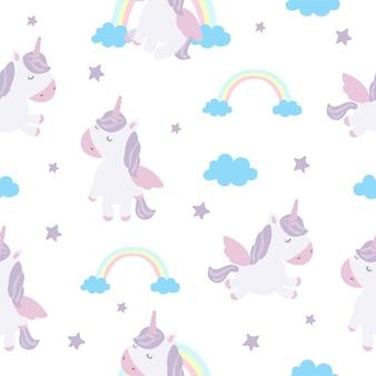 Set vettoriale di cartoline con simpatici unicorni poster con adorabile animale magico sullo sfondo