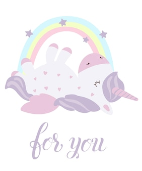 Set vettoriale di cartoline con unicorni carini