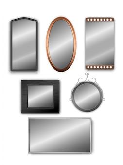 Insieme di vettore degli specchi realistici 3d isolati su bianco