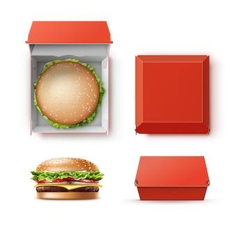 Insieme di vettore del contenitore scatola di pacchetto scatola di cartone rosso vuoto vuoto realistico per il branding con hamburger classico hamburger americano cheeseburger close up vista laterale superiore isolato su sfondo bianco. fast food