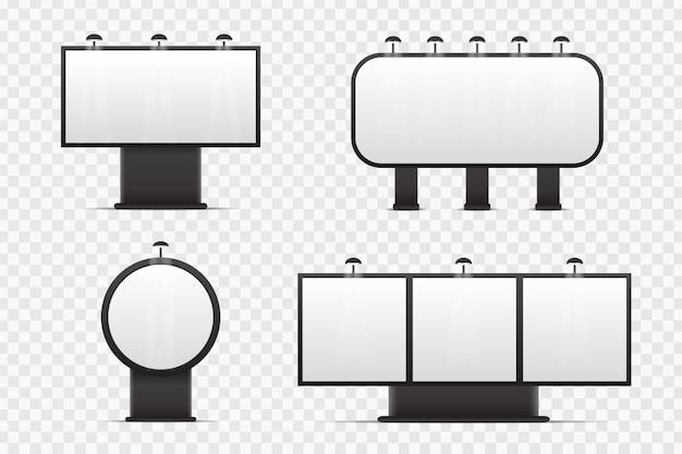 Insieme di vettore del tabellone per le affissioni isolato realistico per la copertura sullo spazio trasparente. modello vuoto mock up per decorazione e pubblicità.