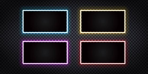 Insieme di vettore dell'insegna al neon isolata realistica del telaio