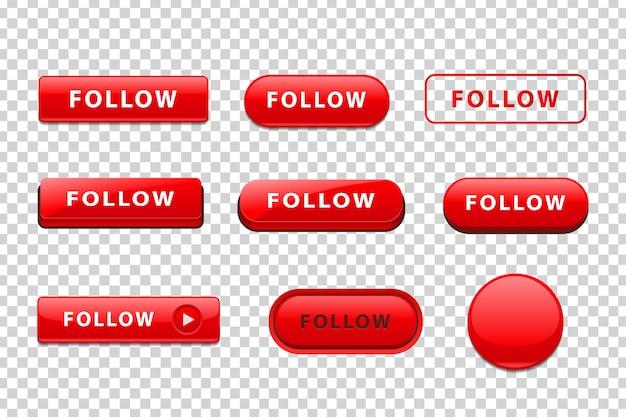 Insieme di vettore del pulsante rosso isolato realistico del logo segui per la decorazione del sito web
