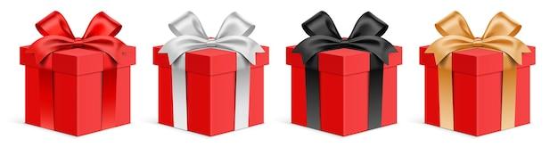 Insieme di vettore delle scatole regalo rosse con nastri di colore diverso. giftbox 3d realistico, isolato su priorità bassa.