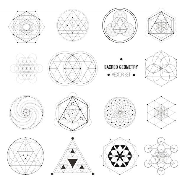 Insieme di vettore dei simboli di geometria sacra