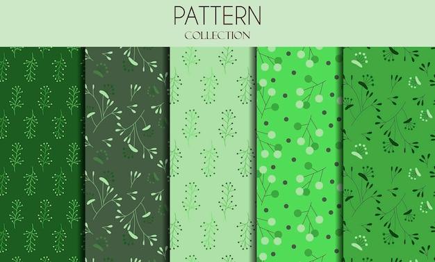 Set vettoriale di modelli senza soluzione di continuità e sfondi astratti con foglie verdi e fiori