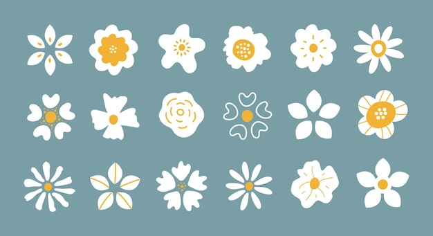Set vettoriale di petali di fiori bianchi disegnati a mano semplici isolati su sfondo blu