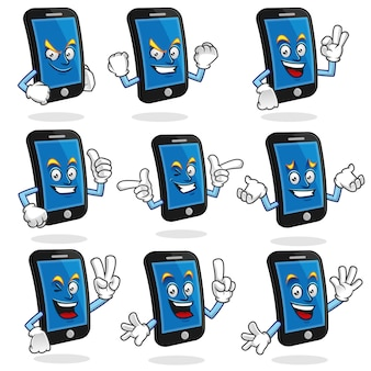 Set vettoriale della mascotte smart phone