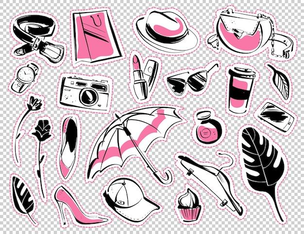 Set vettoriale di adesivi accessori moda donna scarpe occhiali cosmetici stile schizzo disegnato a mano