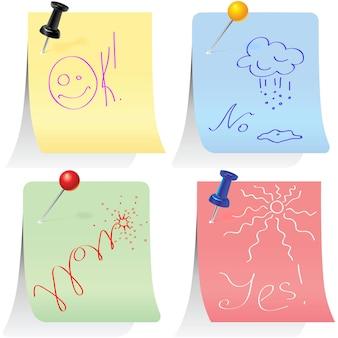 Set vettoriale di adesivi spille da ufficio appuntate pastello con slogan