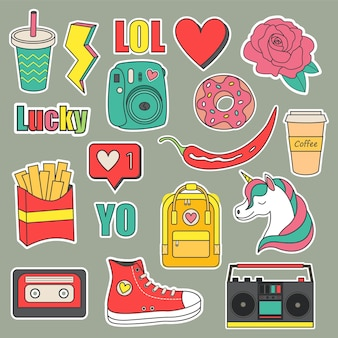 Set vettoriale di adesivi di adolescenti