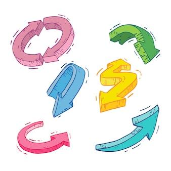 Set vettoriale di frecce tridimensionali di diversi colori