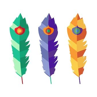 Set vettoriale di tre piume piatte colorate