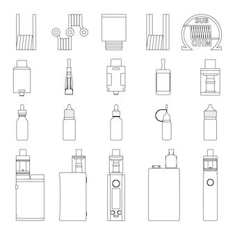 Insieme di vettore delle icone di schizzo di contorno accessori vape. illustrazione di svapo