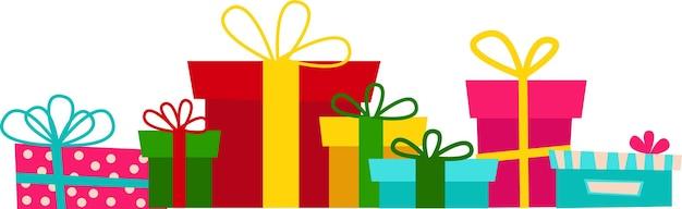 Insieme di vettore di varie scatole regalo. design piatto. buon natale e felice anno nuovo 2022.