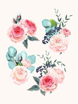 Set vettoriale di mazzi di fiori, bacche ed eucalipto vintage alti dettagliati