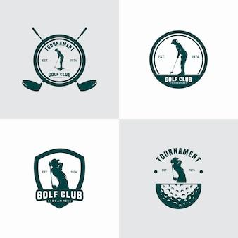 Set vettoriale di loghi vintage per mazza da golf