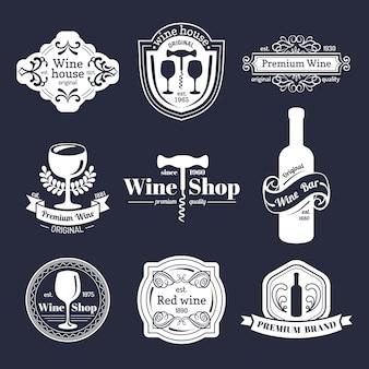 Insieme di vettore del logo del vino dell'annata. collezione di icone di vino retrò.
