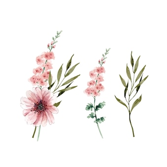 Set vettoriale di acquerelli e delicati mazzi di fiori dipinti a mano