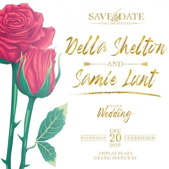 Carta di invito matrimonio set vettoriale con modello di sfondo rose