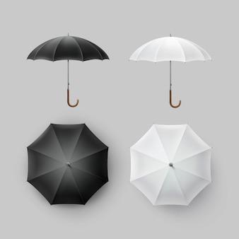 Insieme di vettore del parasole del parasole dell'ombrello della pioggia rotondo aperto classico in bianco nero bianco