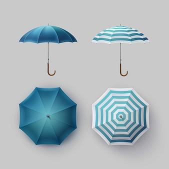 Insieme di vettore del parasole dell'ombrello della pioggia rotondo aperto classico in bianco a strisce blu bianco
