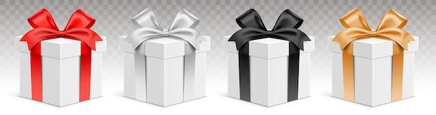 Insieme di vettore delle scatole regalo bianche con nastri di colore diverso. giftbox 3d realistico, isolato su sfondo trasparente.