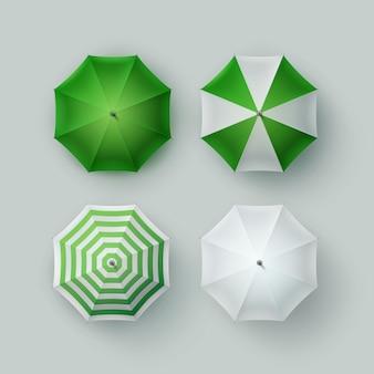 Insieme di vettore del parasole dell'ombrello di pioggia rotondo aperto classico in bianco a strisce verde bianco