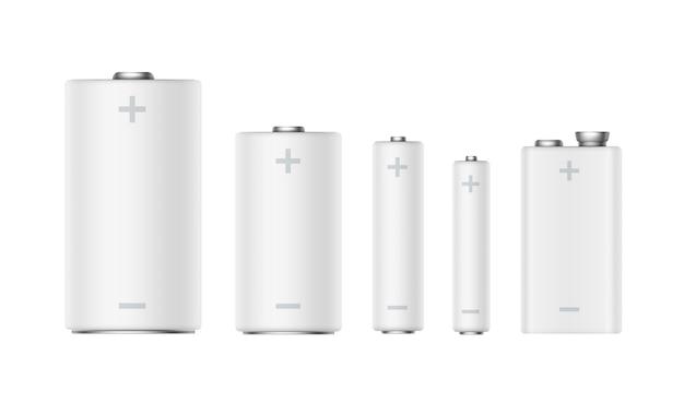 Vector set di batterie alcaline opache bianche di diverse dimensioni