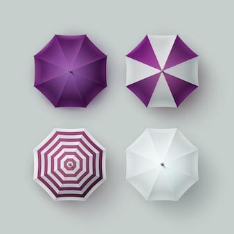Insieme di vettore dell'ombrello da pioggia rotondo aperto classico bianco a strisce viola viola bianco