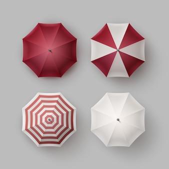 Insieme di vettore del parasole dell'ombrello della pioggia rotondo aperto classico a strisce vinose rosso bianco