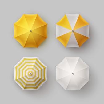 Insieme di vettore del parasole dell'ombrello della pioggia rotondo aperto classico in bianco a strisce giallo bianco
