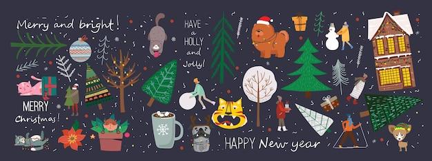 Set vettoriale di alberi di natale invernali e sole neve fiocco di neve cespuglio gatti persone per creare il proprio nuovo ye...