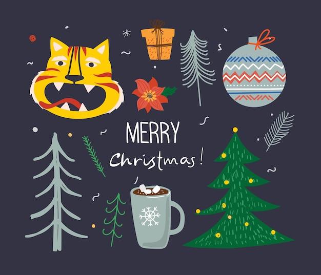 Set vettoriale di alberi di natale invernali e sole, neve, fiocco di neve, cespuglio, gatti, persone per creare le proprie carte di illustrazione di capodanno e natale