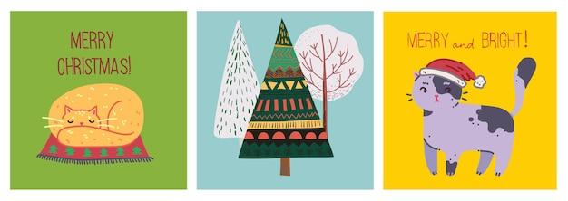 Set vettoriale di alberi di natale invernali e sole, neve, fiocchi di neve, cespuglio, nuvole, gatti e regali per creare biglietti di illustrazione di capodanno e natale