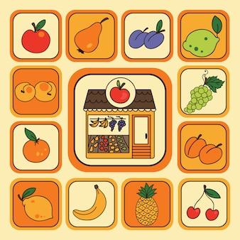 Insieme di vettore con le icone di frutta