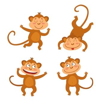 Insieme di vettore con scimmie divertenti in stile cartone animato.