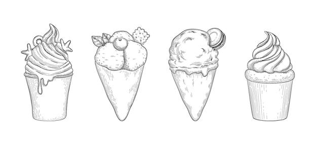 Insieme di vettore con gelato dettagliato disegnato a mano e dessert di frutta.