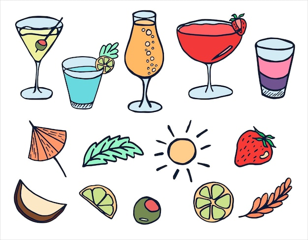 Set vettoriale con cocktail estivi margarita mojito e frutta in stile scarabocchio