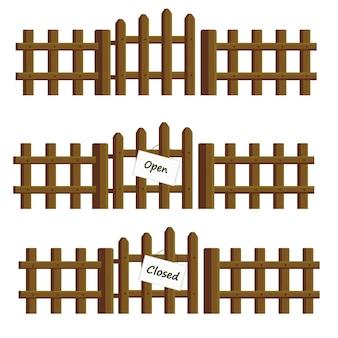 Set vettoriale di staccionate in legno con cartelli aperti chiusi e senza iscrizione
