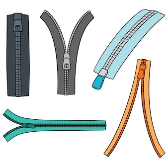 Set vettoriale di zip